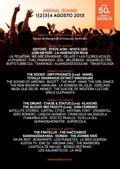 cartel arenal sound 2013 por dias