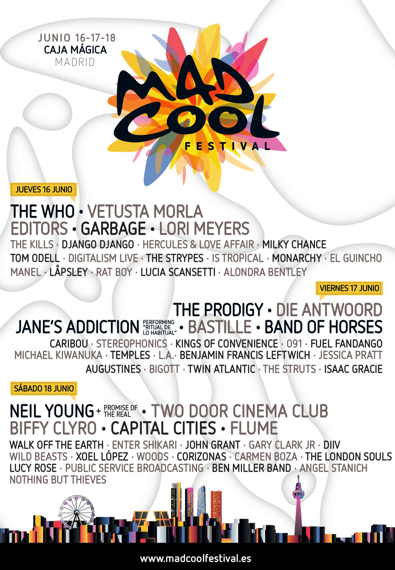 Cartel por días del MadCool, encabezado por The Who, The Prodigy y Neil Young