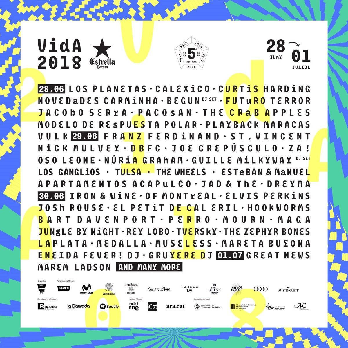cartel por días vida festival 2018